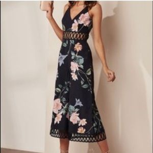 KEEPSAKE Navy Floral Cut-Out Romper Jumpsuit Small